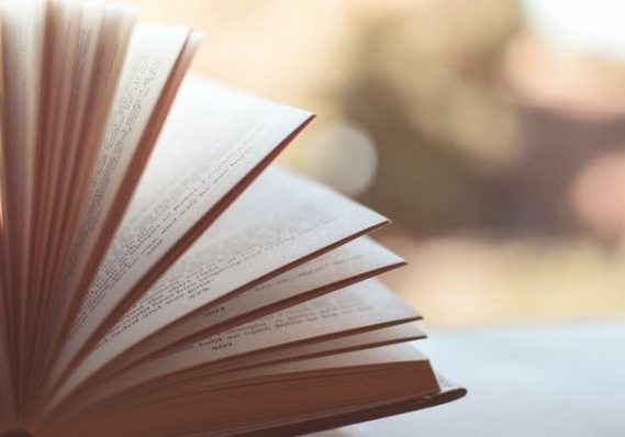 book with pages fanned out on surface